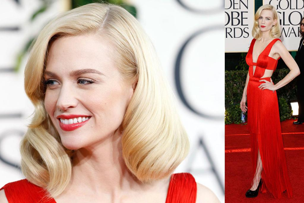 LADY IN RED: January Jones, from Mad Men, at the 68th Golden Globe Awards.
