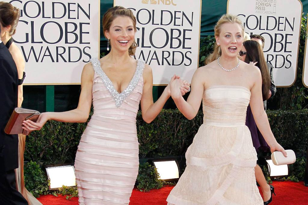 DOUBLE TROUBLE: Actresses Maria Menounos and Kaley Cuoco arrive at the 68th annual Golden Globe Awards in Beverly Hills.