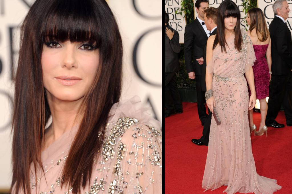SEQUINS: Actress Sandra Bullock arrives at the 68th Annual Golden Globe Awards.