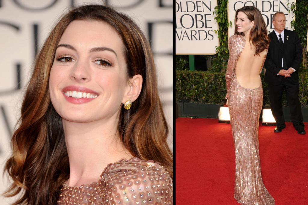 HATHING HER WAY: Actress Anne Hathaway arrives at the 68th Annual Golden Globe Awards.