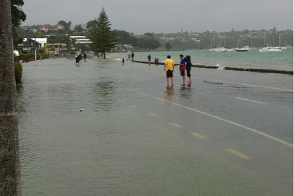 Flooding at Buckland's Beach in Auckland.