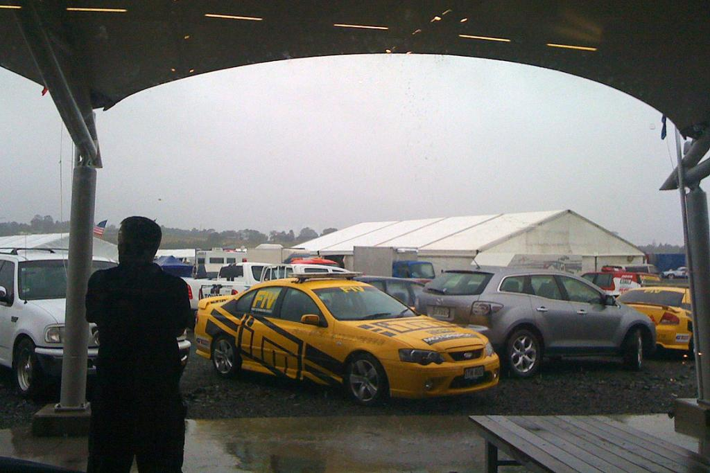 The scene from Hampton Downs in the Waikato where the bad weather has led to the NZ Festival of Motor Racing being abandoned for the day.