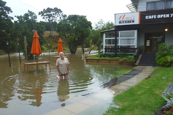 Amy's Kitchen restaurant in Howick is still open but customers should wear gumboots.