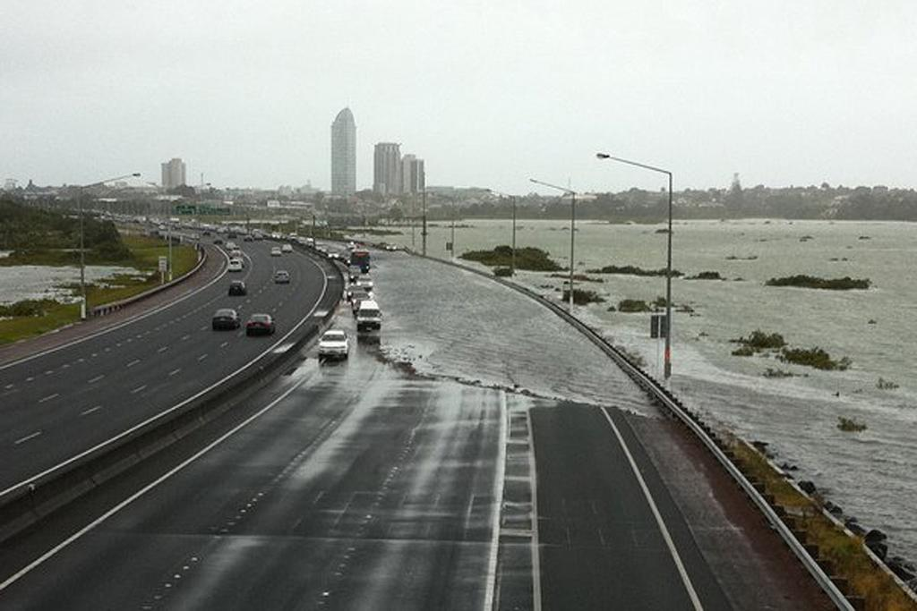 Southbound lanes are flooded on Auckland's motorway on the North Shore.