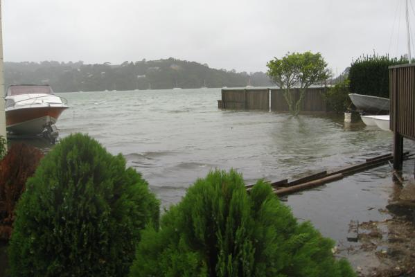 Waterfront homes at Herald Island on Auckland's North Shore have been hit by the floodwaters.