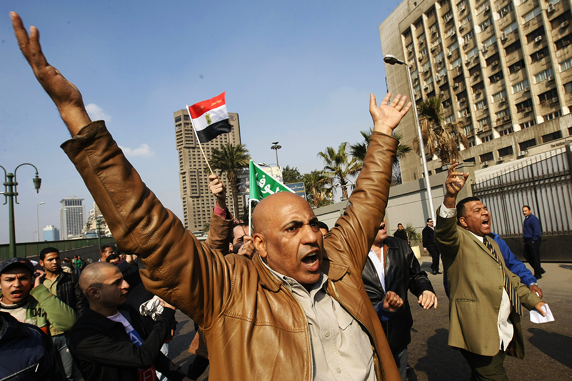 DEMANDING CHANGE: Egyptian demonstrators protest to demand the ouster of President Hosni Mubarak and calling for reforms.
