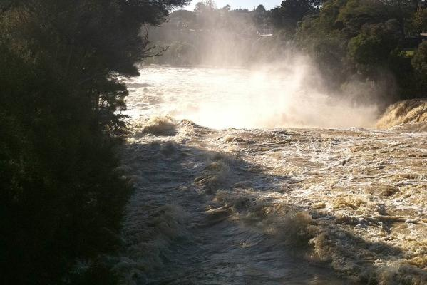 A dramatic shot of the Haruru River as it powers over the falls near the Panorama resort, three kilometres inland from Paihia in the Bay of Islands.