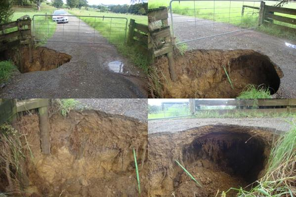 A driveway washed out at Lost Bush Track, Marua, Whangarei.
