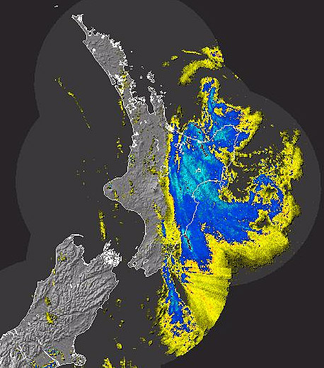 A MetService weather radar shot from Saturday morning showing how far Wilma as moved across New Zealand.