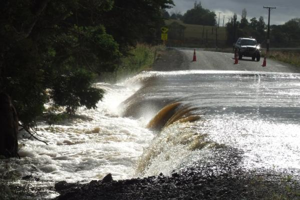 This picture, taken Saturday in Titoki, about 30km northwest of Whangarei, where 225ml of rain fell between midday Friday and 4am on Saturday.