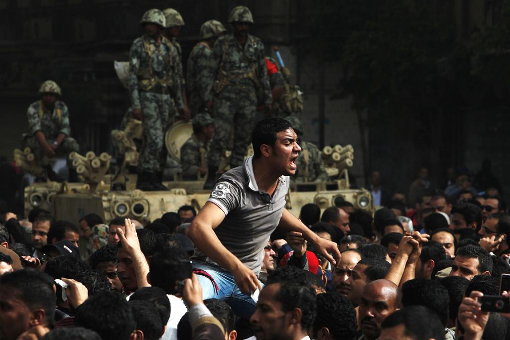 A protester reacts during demonstrations in Cairo.