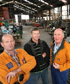 """UNDER NEW MANAGEMENT: Bluff Engineering and Welding partners for the past 30 years, Neil """"Sub"""" Sutherland, left, and Paul Potter, right, with new owner Andrew Watkins"""