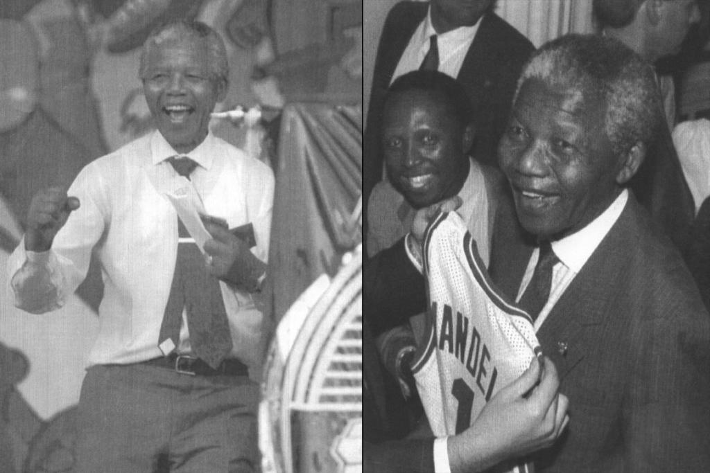 Left, Mandela in 1992, right, Mandela accepting a Boston Celtics basketball team jersey bearing his name in 1990.