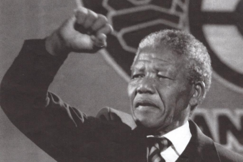Mandela in London, delivering a speech at a concert in his honour in 1990.
