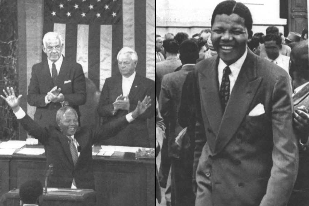 Left, Mandela acknowledging applause in Washington in 1990, Right, Mandela leaving court in 1958.