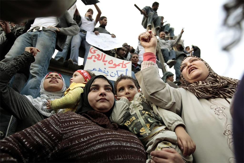 Protesters chant anti-government slogans as they demonstrate in Tahrir Square in Cairo.