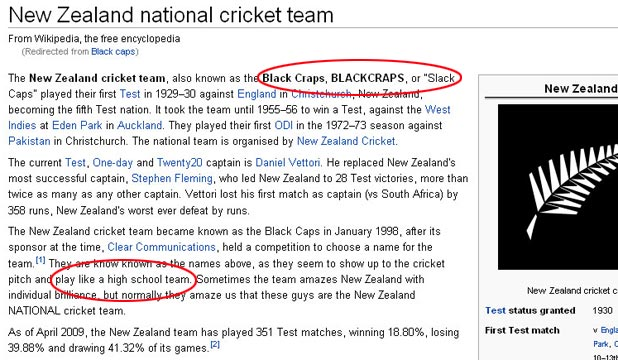 'BLACK CRAPS': Wikipedia's New Zealand cricket team page after a malicious edit.