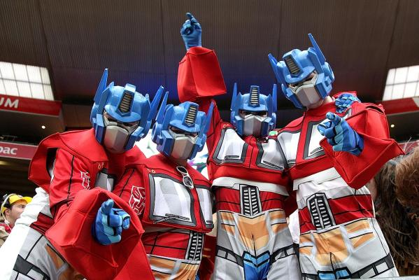 Fans dressed as Transformer, Optimus Prime, enjoy the Wellington Sevens.