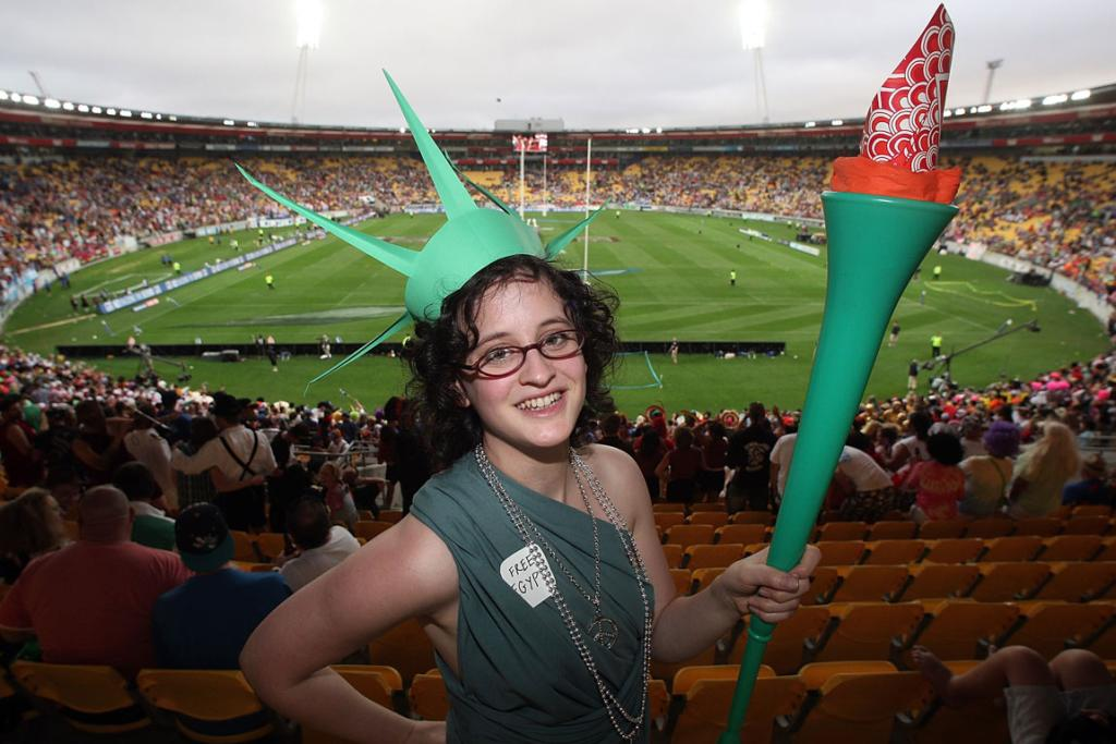 Fans enjoy the atmosphere during day one of the 2011 Wellington Sevens.