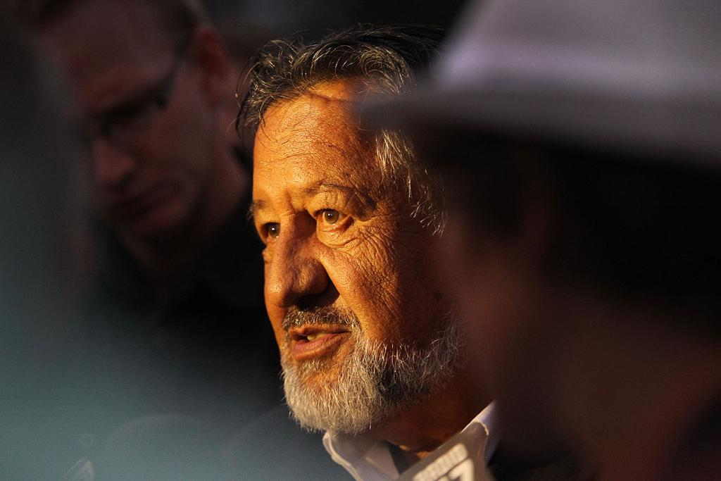 LISTEN UP: Maori Party MP Pita Sharples speaks while attending the dawn service on the upper marae at Waitangi.
