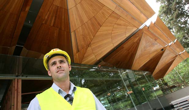 SOLID WORK: Stephen Pearson, project director for the Auckland Art Gallery's kauri pod installation, had a team working split shifts out of a joinery shed to create the stunning ceiling