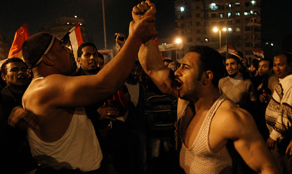 Egyptian men celebrate