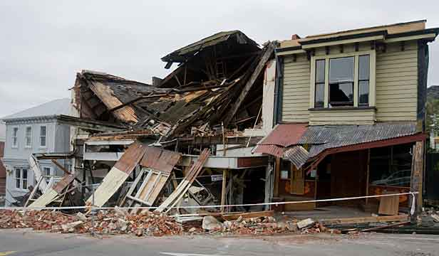 A building in Lyttelton that was destroyed.
