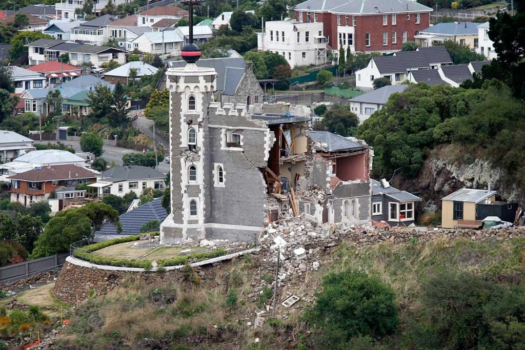 The damaged Time Ball Tower in Lyttelton.