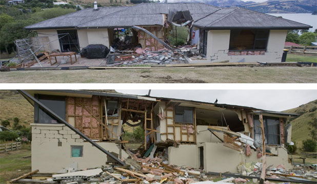 STRAIGHT THROUGH: This house in Rapaki, pictured above and below,  was hit by a car-sized boulder that fell from the peak above.