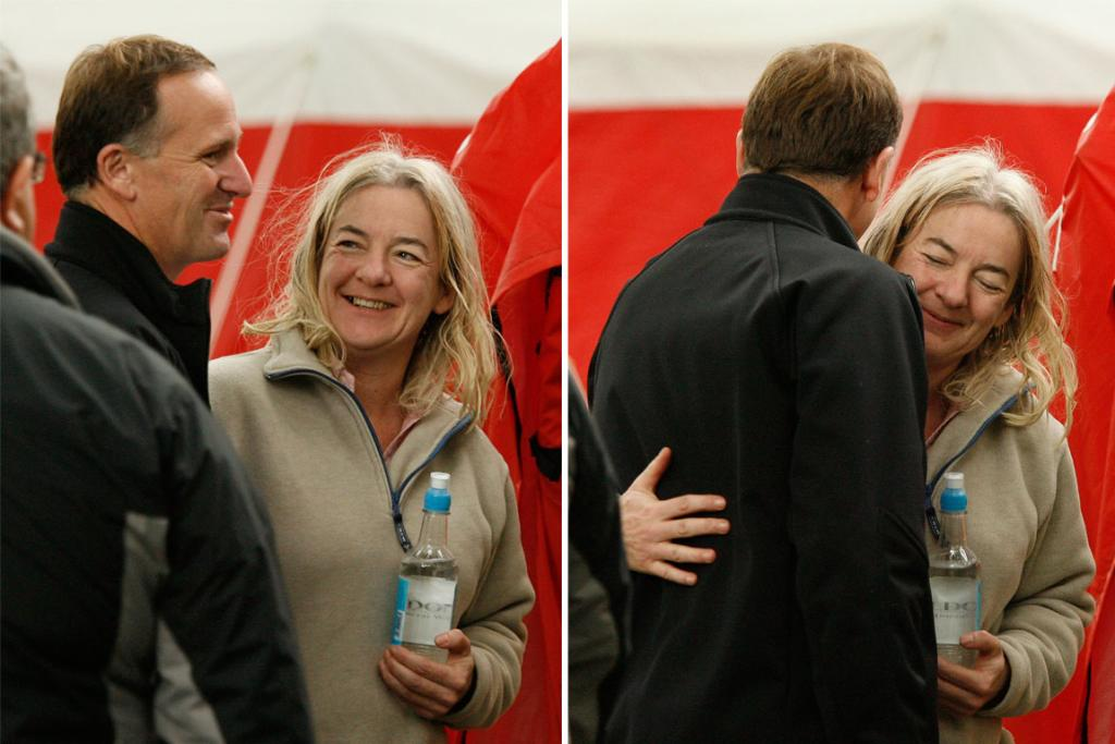 Prime Minister John Key visited the tent city at Latimer Square and got a hug from one of the English rescue workers.