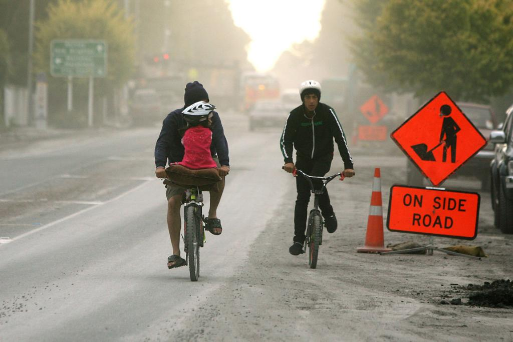 Dust fills the streets of Christchurch as the sand left over from liquefaction starts to dry out.