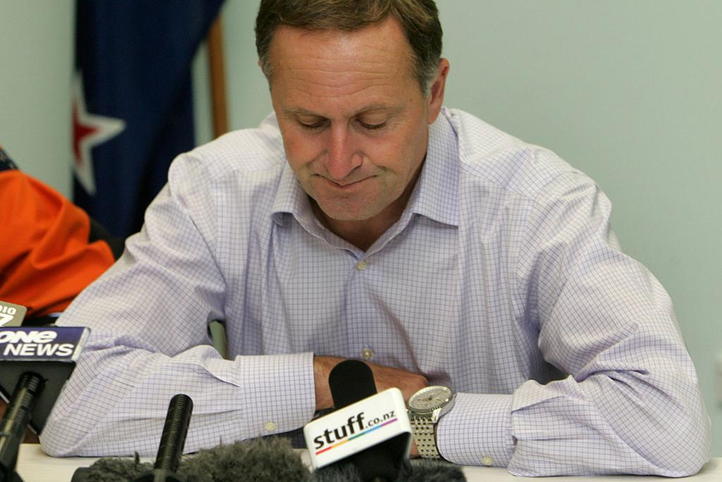 Prime Minister John Key prior to the start of a media conference.