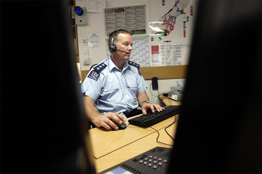 Inspector Mike Coulter looks after Police Communications in the Christchurch Central Police station.
