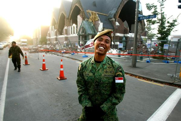 First Sergeant Rahim from Singapore helps secure the intersection of Victoria and Bealey streets.