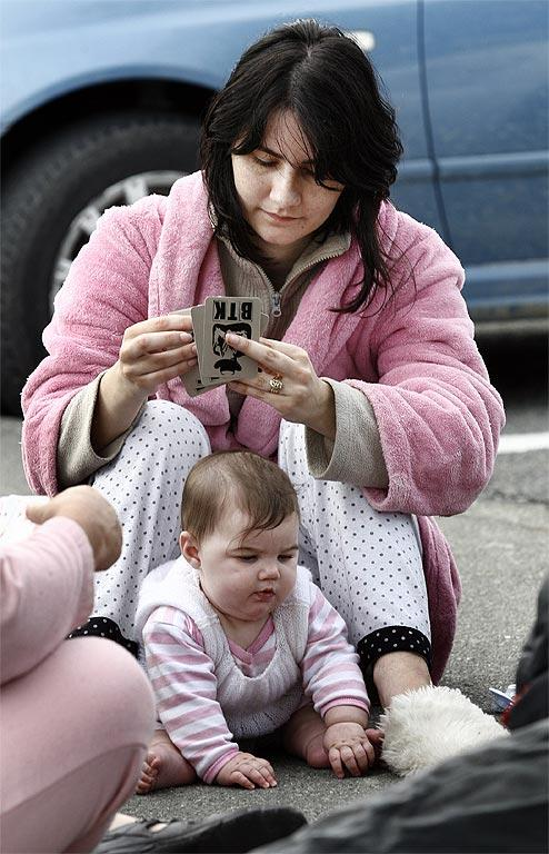 Sumner residents evacuate their homes. Maruschke Barnard with her baby Dianthe-Rose, who was born on September 4, 2010, the day of the first quake.