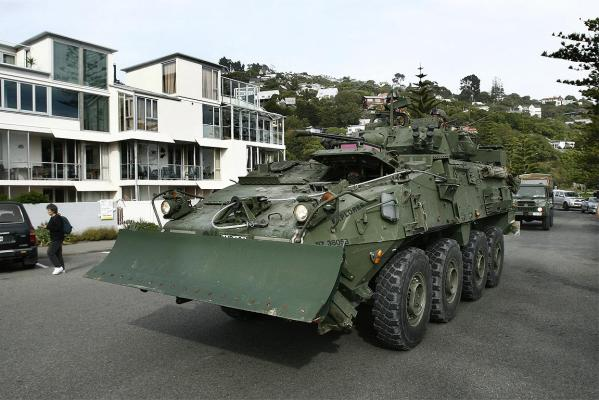 An army LAV moves along the Esplande, Sumner, as residents are evacuated from their homes.