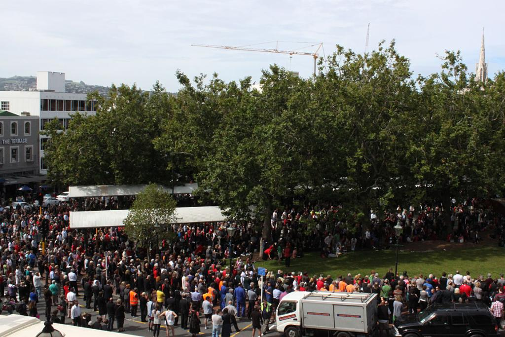 Thousands converge on the Octagon in Dunedin to remember the Christchurch earthquake.