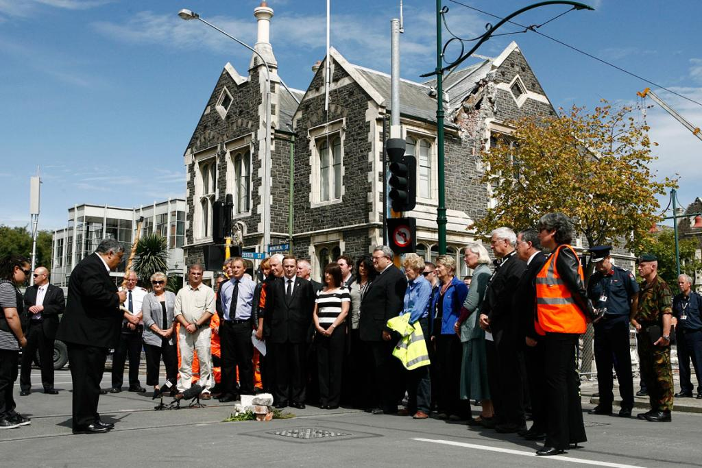 Prime minister John Key observes 2 minutes silence at 12.51pm, one week after the quake struck Christchurch.