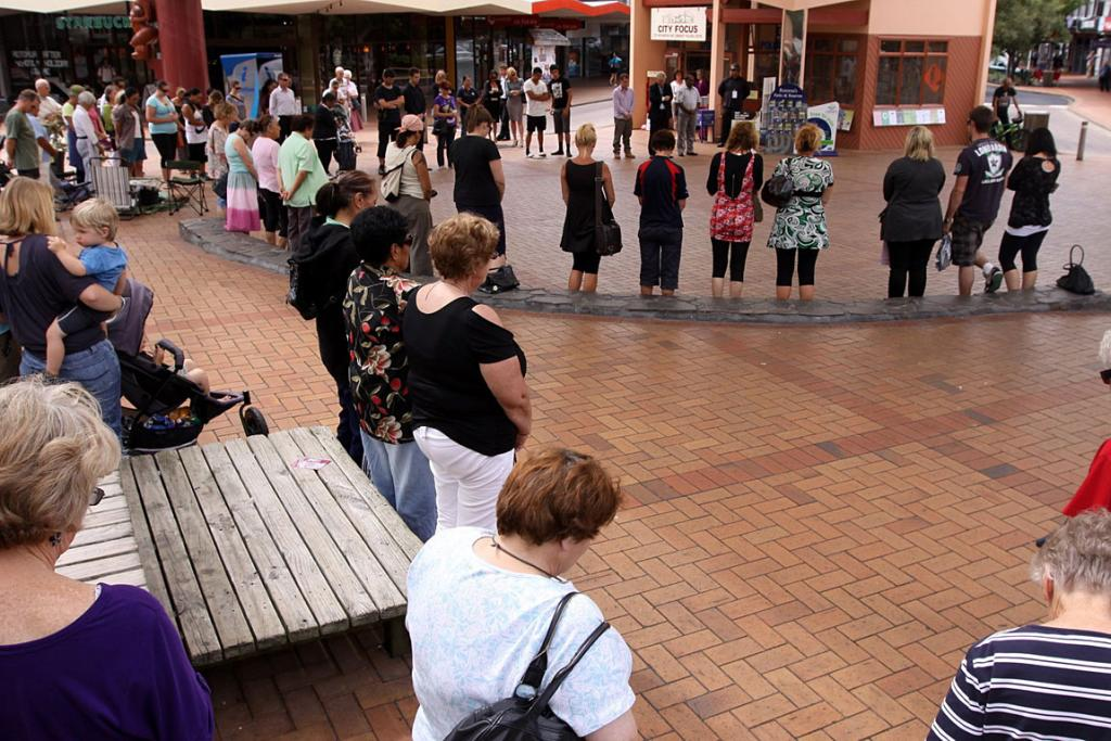 Heads bent in sorrow, Rotorua joins the rest of the country iunited in grief.