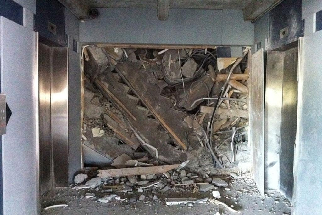 Photo of the stairwell the US rescue team is working to access.
