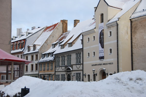 BEAUTIFUL BUILDINGS:  German art nouveau buildings in the old town behind piles of fresh snow.