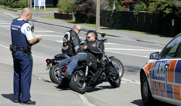 Picton police stop members of the Hells Angels Motorcycle Gang after they arrived off the Interislander Ferry
