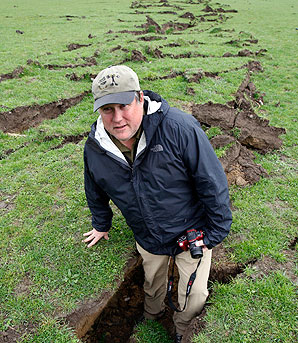 Visiting professor Kevin Furlong from Penn State University in the USA looks at the fault line west of Burnham after the September 4 quake.