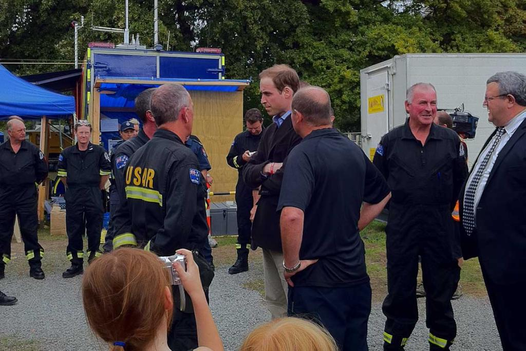 Prince William meets USAR staff in Christchurch.