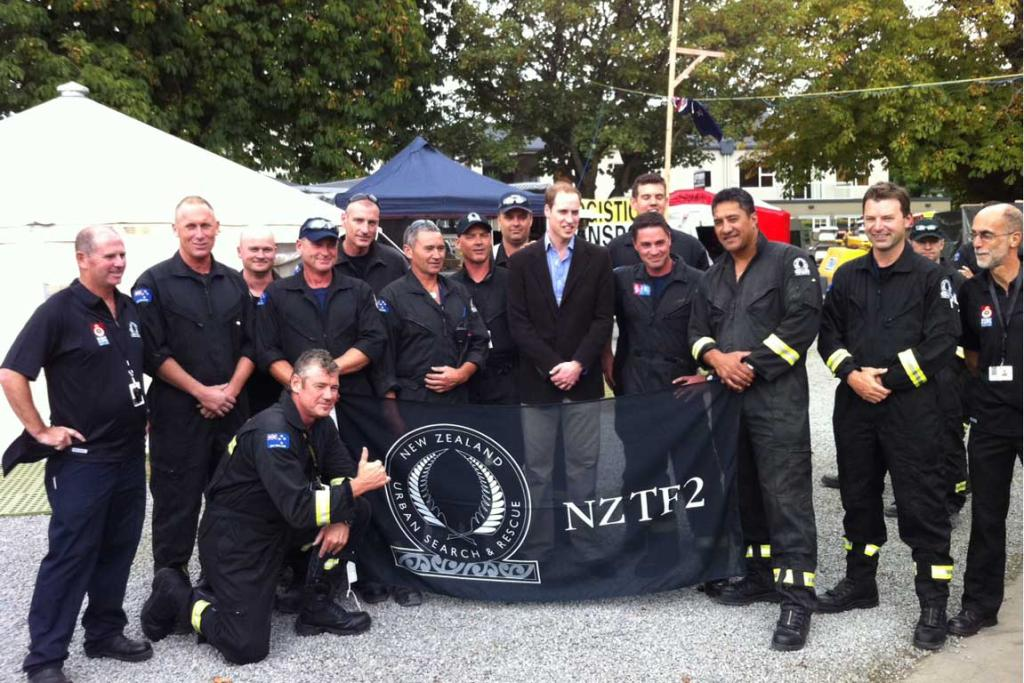 Prince William with Urban Search and Rescue staff in Christchurch.
