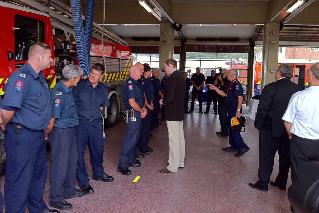Prince William meets firefighters in Christchurch.