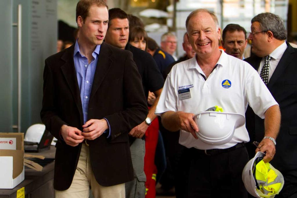 Prince William in Christchurch's Red Zone with Civil Defence head John Hamilton.