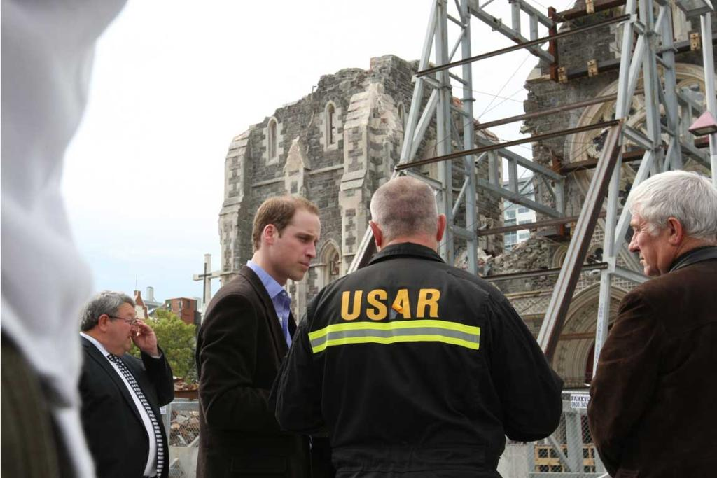 Prince William outside the damaged ChristChurch Cathedral.