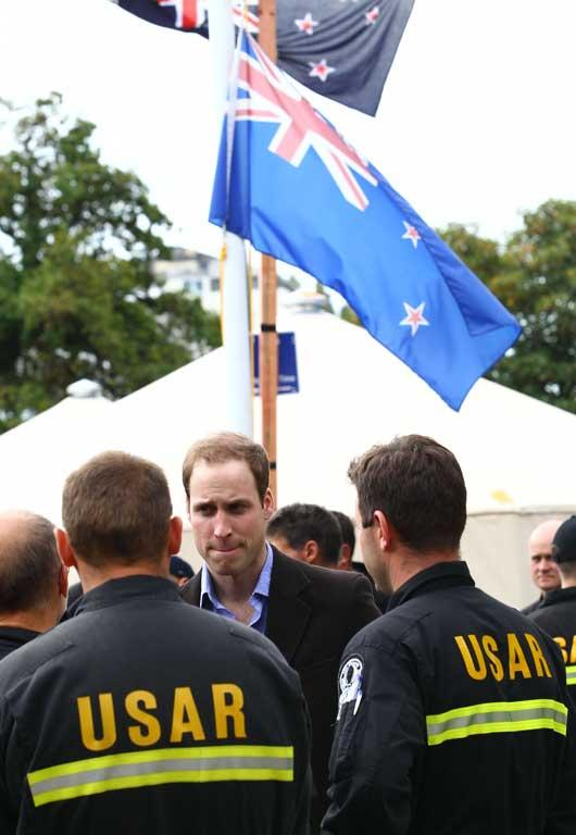 Prince William meets with USAR members in quake-ravaged Christchurch.