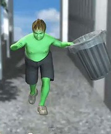 ONLINE HERO: The victim has been transformed into a mini Incredible Green Hulk online.